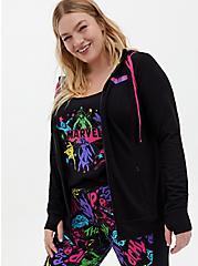Marvel Women Black & Neon Pink Active Zip Hoodie, DEEP BLACK, hi-res