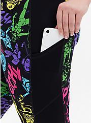 Marvel Women Black & Multi Neon Crop Active Legging, MULTI, alternate