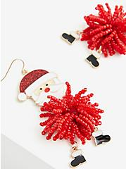 Enamel Santa Pom-Pom Statement Earrings, , alternate