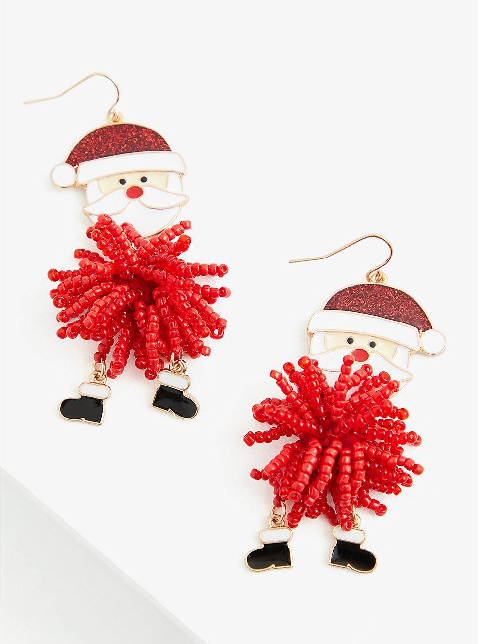 Enamel Santa Pom-Pom Statement Earrings, , hi-res