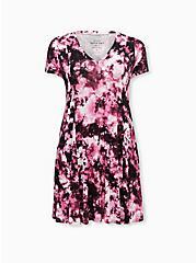 Super Soft Purple Tie-Dye A-Line Mini Dress, TIE DYE, hi-res
