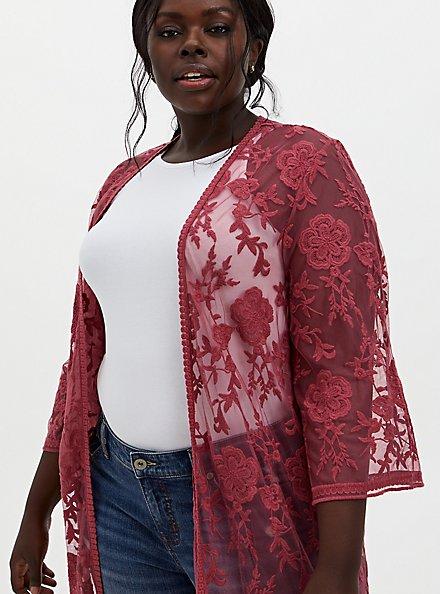 Dusty Red Mesh Crochet Trim Longline Kimono, ANTIQUE RED, alternate