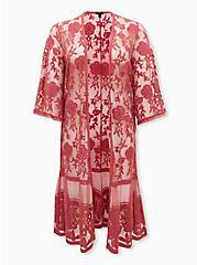 Dusty Red Mesh Crochet Trim Longline Kimono, ANTIQUE RED, hi-res