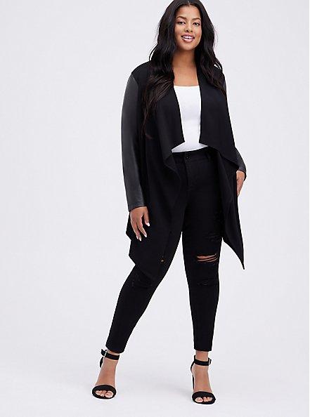 Black Ponte & Faux Leather Drape Front Kimono, DEEP BLACK, alternate