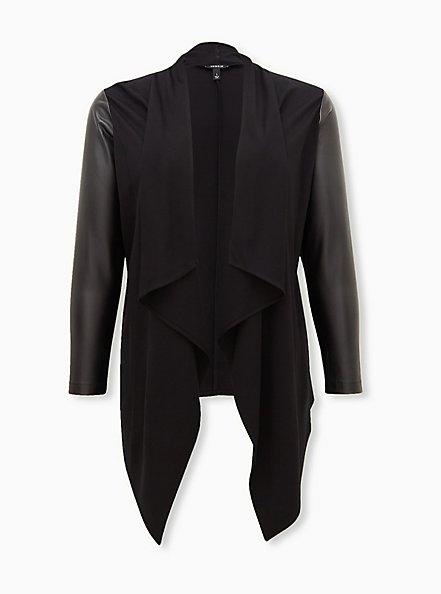 Black Ponte & Faux Leather Drape Front Kimono, DEEP BLACK, hi-res