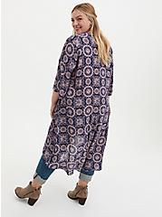 Navy & Light Pink Medallion Crepe Hi-Lo Kimono, MEDALLION-BLUE, alternate