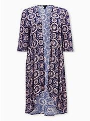 Navy & Light Pink Medallion Crepe Hi-Lo Kimono, MEDALLION-BLUE, hi-res