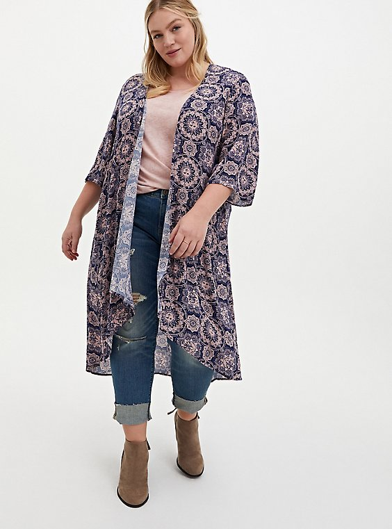 Navy & Light Pink Medallion Crepe Hi-Lo Kimono, MEDALLION-BLUE, hi-res