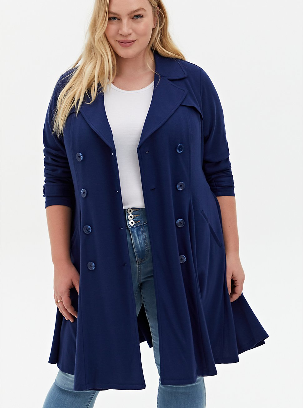 Navy Brushed Ponte Swing Trench Jacket, PEACOAT, hi-res