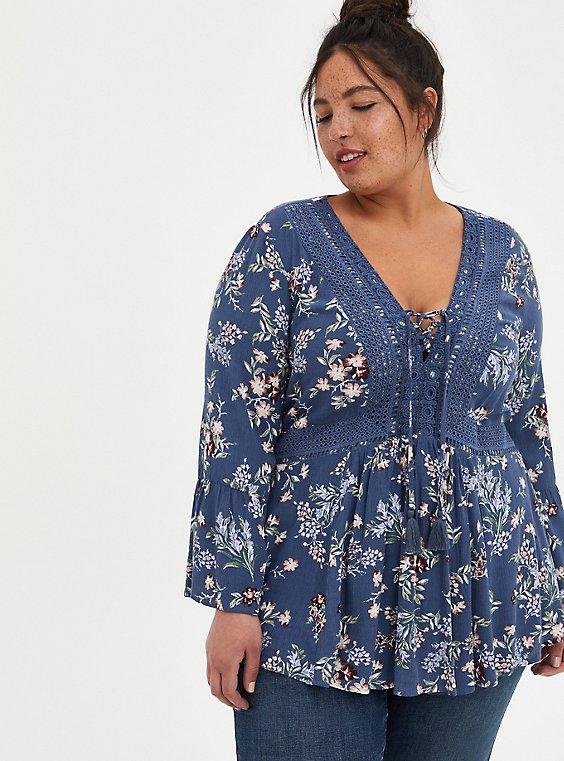 Vintage Indigo Floral Gauze Lace-Up Babydoll Blouse, FLORAL - BLUE, hi-res