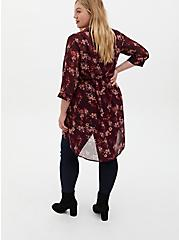 Lexie - Burgundy Purple Floral Chiffon Hi-Lo Babydoll Tunic, FLORAL - PURPLE, alternate
