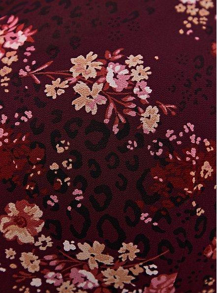 Lexie - Burgundy Purple Floral Chiffon Hi-Lo Babydoll Tunic, FLORAL - PURPLE, alternate
