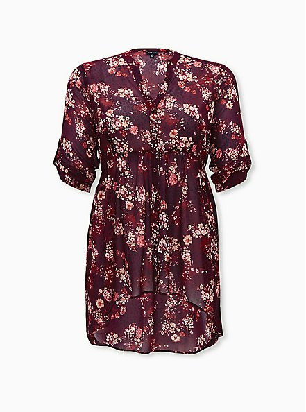 Lexie - Burgundy Purple Floral Chiffon Hi-Lo Babydoll Tunic, FLORAL - PURPLE, hi-res