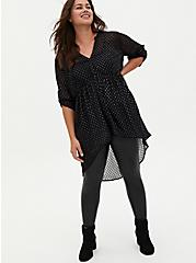 Lexie - Black Metallic Clip Dot Chiffon Hi-Lo Babydoll Tunic, DEEP BLACK, alternate
