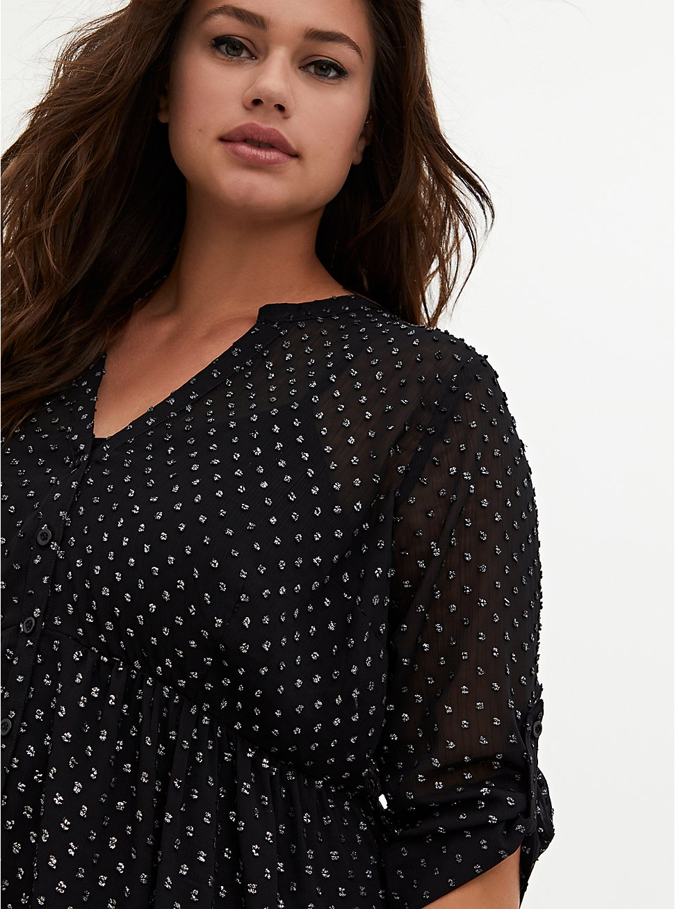 Lexie - Black Metallic Clip Dot Chiffon Hi-Lo Babydoll Tunic, DEEP BLACK, hi-res
