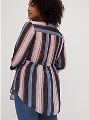 Emma - Multi Stripe Chiffon Babydoll Tunic, STRIPE - WHITE, alternate