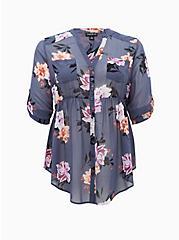 Emma - Vintage Indigo Floral Chiffon Babydoll Tunic, FLORAL - BLUE, hi-res
