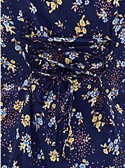 Navy Floral Stretch Challis Corset Back Blouse, FLORAL - BLUE, alternate