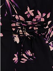 Black Floral Challis Corset Back Blouse, FLORAL - BLACK, alternate
