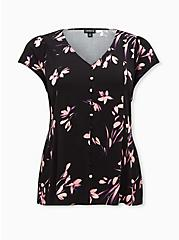 Black Floral Challis Corset Back Blouse, FLORAL - BLACK, hi-res