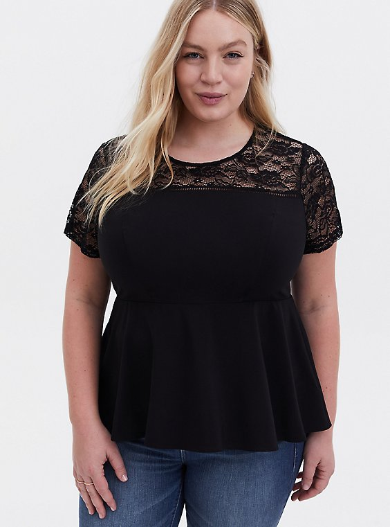 Black Crepe & Lace Peplum Top , DEEP BLACK, hi-res
