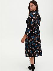 Black Floral Challis Button Front Drawstring Midi Shirt Dress, FLORALS-BLACK, alternate