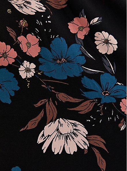 Black Floral Challis Button Front Drawstring Midi Shirt Dress, FLORALS-BLACK, alternate
