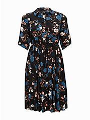 Black Floral Challis Button Front Drawstring Midi Shirt Dress, FLORALS-BLACK, hi-res