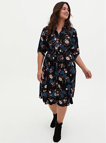Black Floral Challis Button Front Drawstring Midi Shirt Dress, FLORALS-BLACK, hi-res