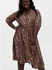 Leopard Challis Self-Tie Midi Shirtdress, LEOPARD, alternate