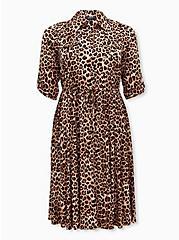 Leopard Challis Self-Tie Midi Shirtdress, LEOPARD, hi-res