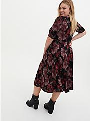 Black Floral Premium Ponte Midi Dress, FLORALS-BLACK, alternate