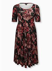 Black Floral Premium Ponte Midi Dress, FLORALS-BLACK, hi-res