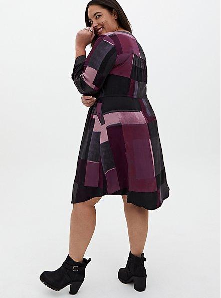 Purple Geo Block Challis Zip Front Shirt Dress, GEO - PURPLE, alternate