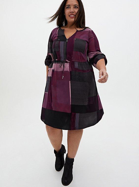 Purple Geo Block Challis Zip Front Shirt Dress, GEO - PURPLE, hi-res