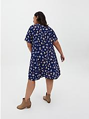 Navy Leopard Floral Challis Mini Trapeze Dress, FLORALS-NAVY, alternate