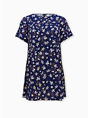 Navy Leopard Floral Challis Mini Trapeze Dress, FLORALS-NAVY, hi-res