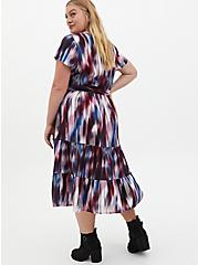 Multi Tie-Dye Print Challis Tiered Skater Midi Dress, TIE DYE STRIPE, alternate