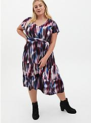Multi Tie-Dye Print Challis Tiered Skater Midi Dress, TIE DYE STRIPE, hi-res