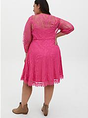 Hot Pink Lace Button Front Skater Dress, AZAELEA PINK, alternate