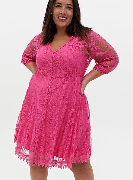 Hot Pink Lace Button Front Skater Dress, AZAELEA PINK, hi-res