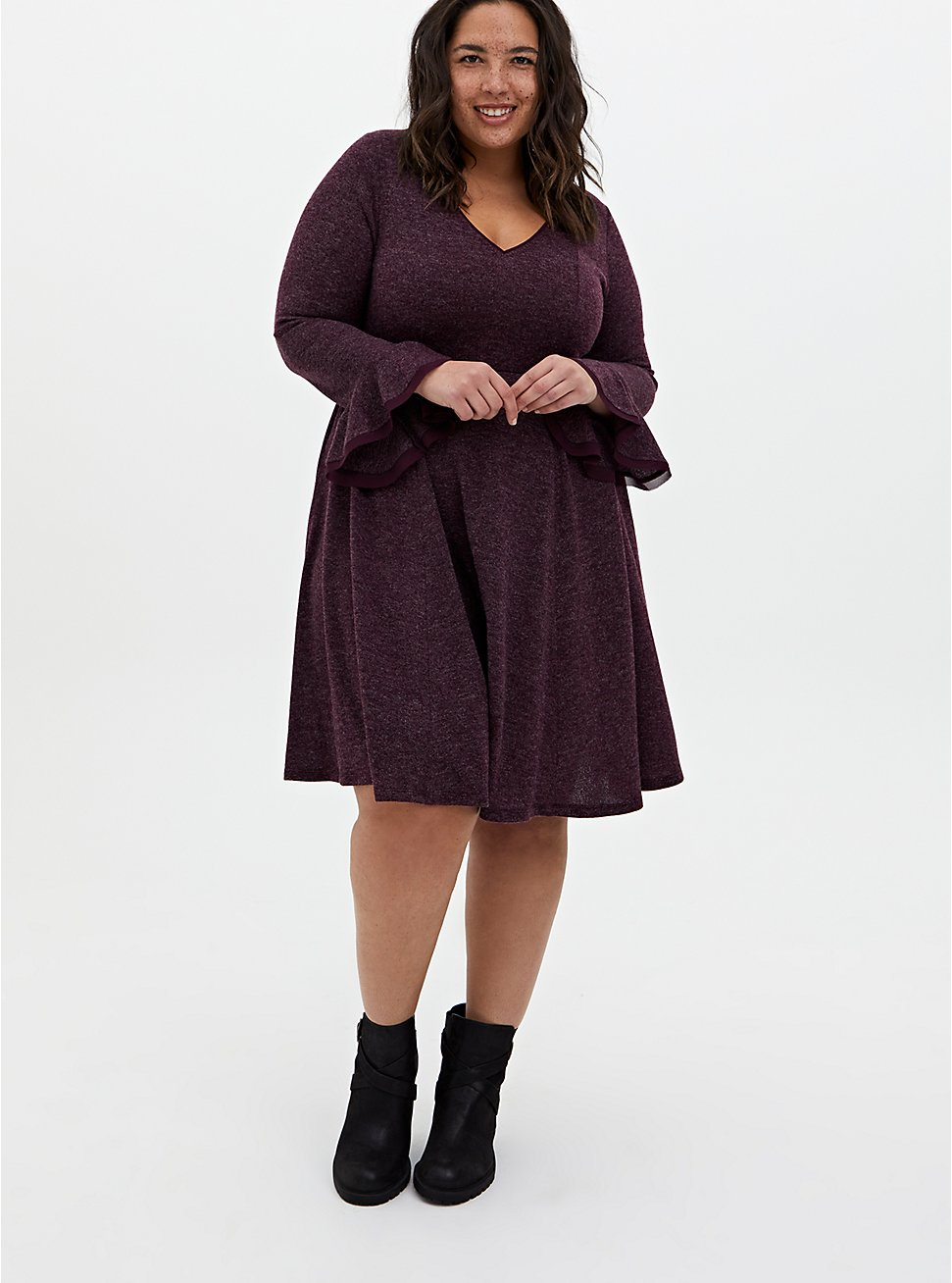 Super Soft Plush Burgundy Purple Skater Dress, WINETASTING, hi-res