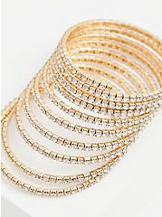 Gold-Tone Rhinestone Coil Bracelet, GOLD, alternate