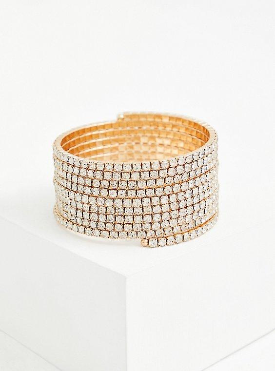 Gold-Tone Rhinestone Coil Bracelet, GOLD, hi-res