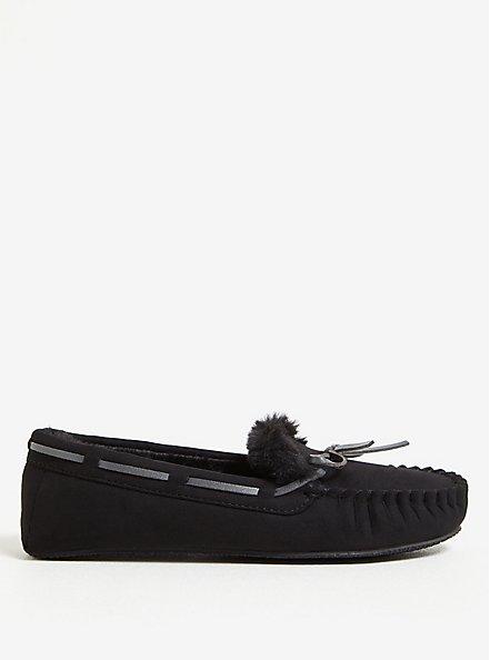 Black Bow Faux Fur Slipper (WW), BLACK, alternate