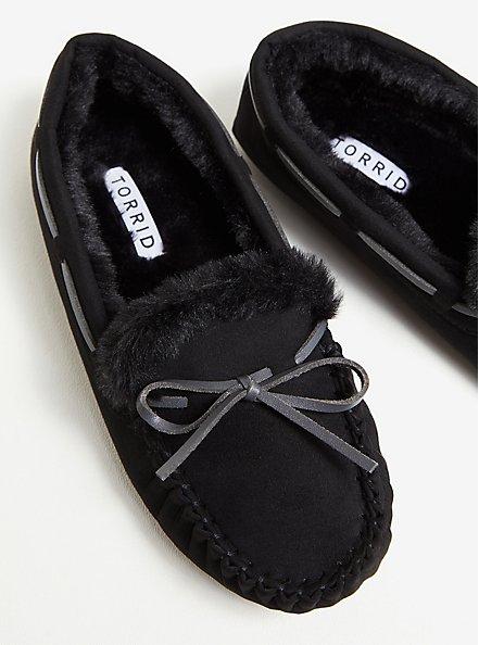 Black Bow Faux Fur Slipper (WW), BLACK, hi-res