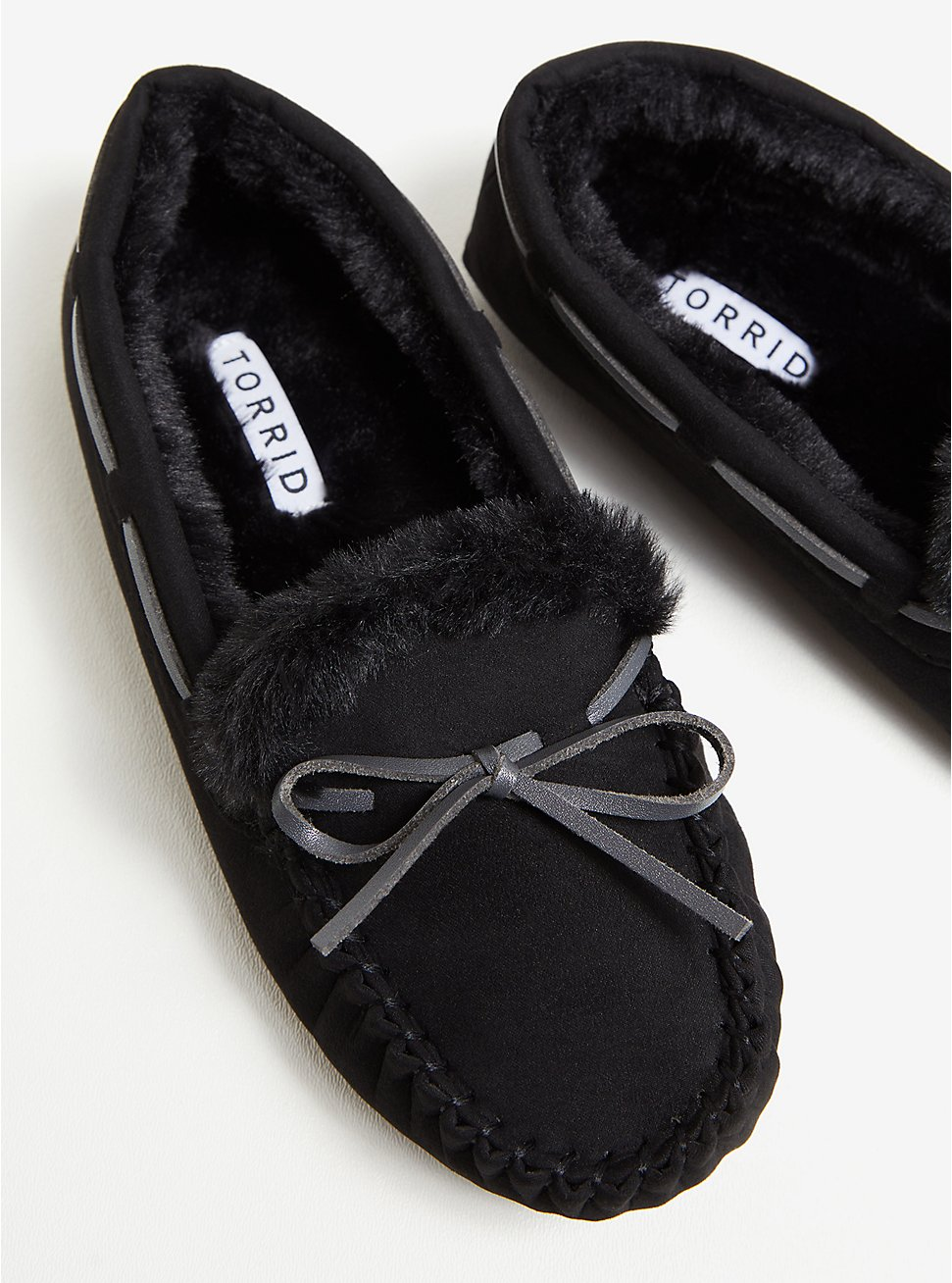 Black Bow Faux Fur Slipper (WW), BLACK, hi-res