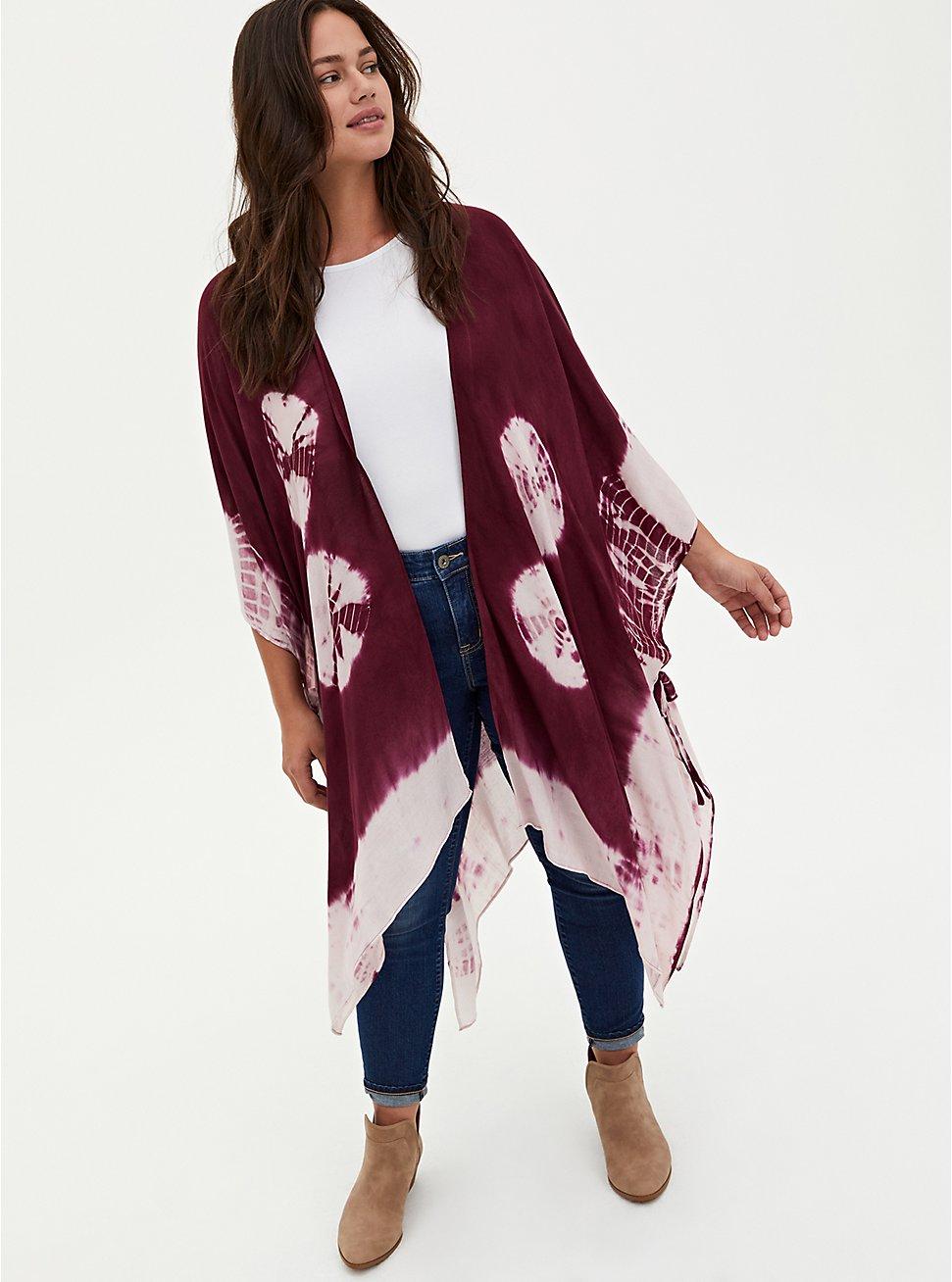 Burgundy Purple Tie-Dye Longline Ruana, , hi-res