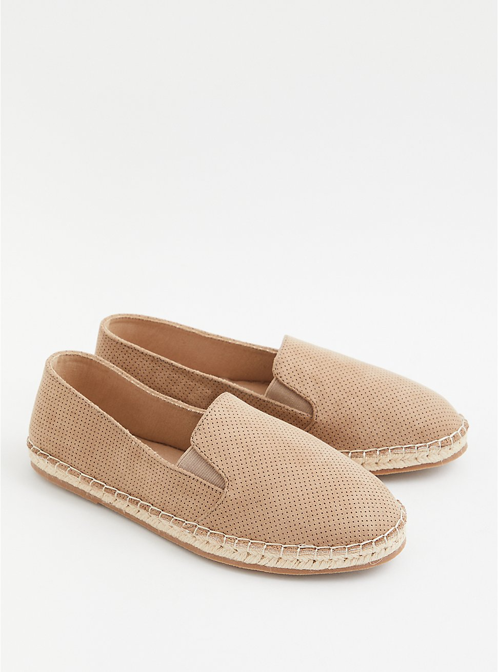 Taupe Faux Suede Perforated Espadrille Flat (WW), TAN/BEIGE, hi-res