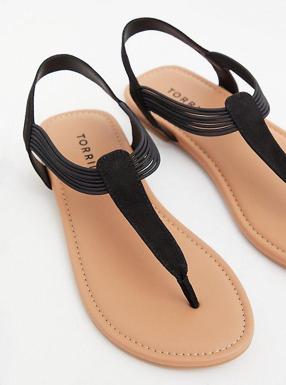 Black Faux Leather Stretch Band Sandal, , hi-res
